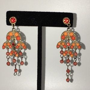 Orange boho earrings chandelier crystal beads drop